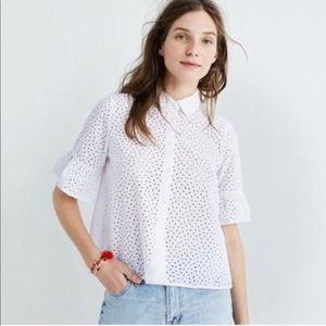 Madewell | Eyelet Bell Sleeve Top in White